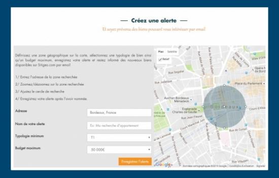 Recherche immobiliere par geolocalisation sur Sitigeo.com